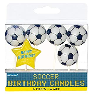 amscan Soccer Birthday Toothpick Candle Set, Party Decoration, Black / White, 3""
