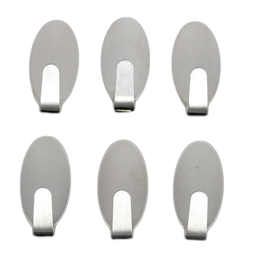 Shuda 6Pcs Multifunction No Scratch Adhesive Hooks for Kitchen Utensils Bathroom Bedroom Wall Door Glass Window(3.2x1.5CM)