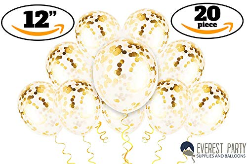 New Year Latex Balloon - Gold Confetti Balloons - Gold Balloons - PREFILLED 20 Pack 12