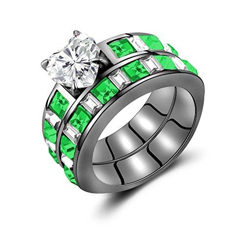 Women's Green White Diamond Heart Black Gold Plating Womens Wedding Rings