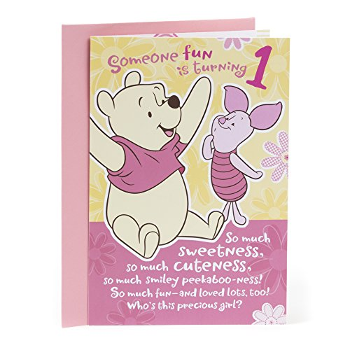 Hallmark 1st Birthday Greeting Card for Girls (Winnie the Pooh and Piglet) (Happy Birthday Messages For 1 Year Old)
