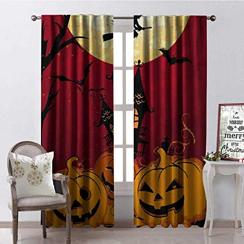 Hengshu Halloween Smile Pumpk Multicolor Window Curtain Fabric Drapes for Living Room W120 x -