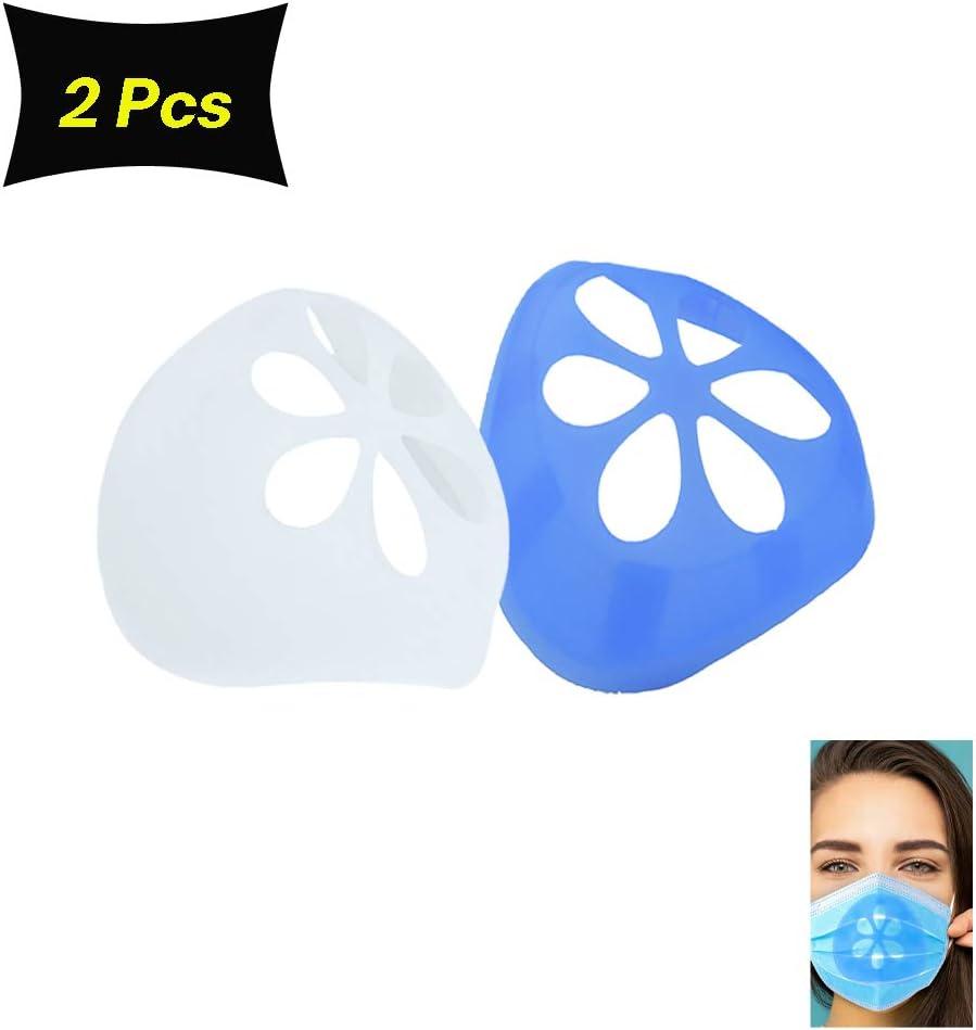 2 soportes 3D de silicona para máscaras, soporte de protección para pintalabios, máscaras de apoyo interior, máscara nasal para la boca y la nariz, aumentar el espacio de respiración