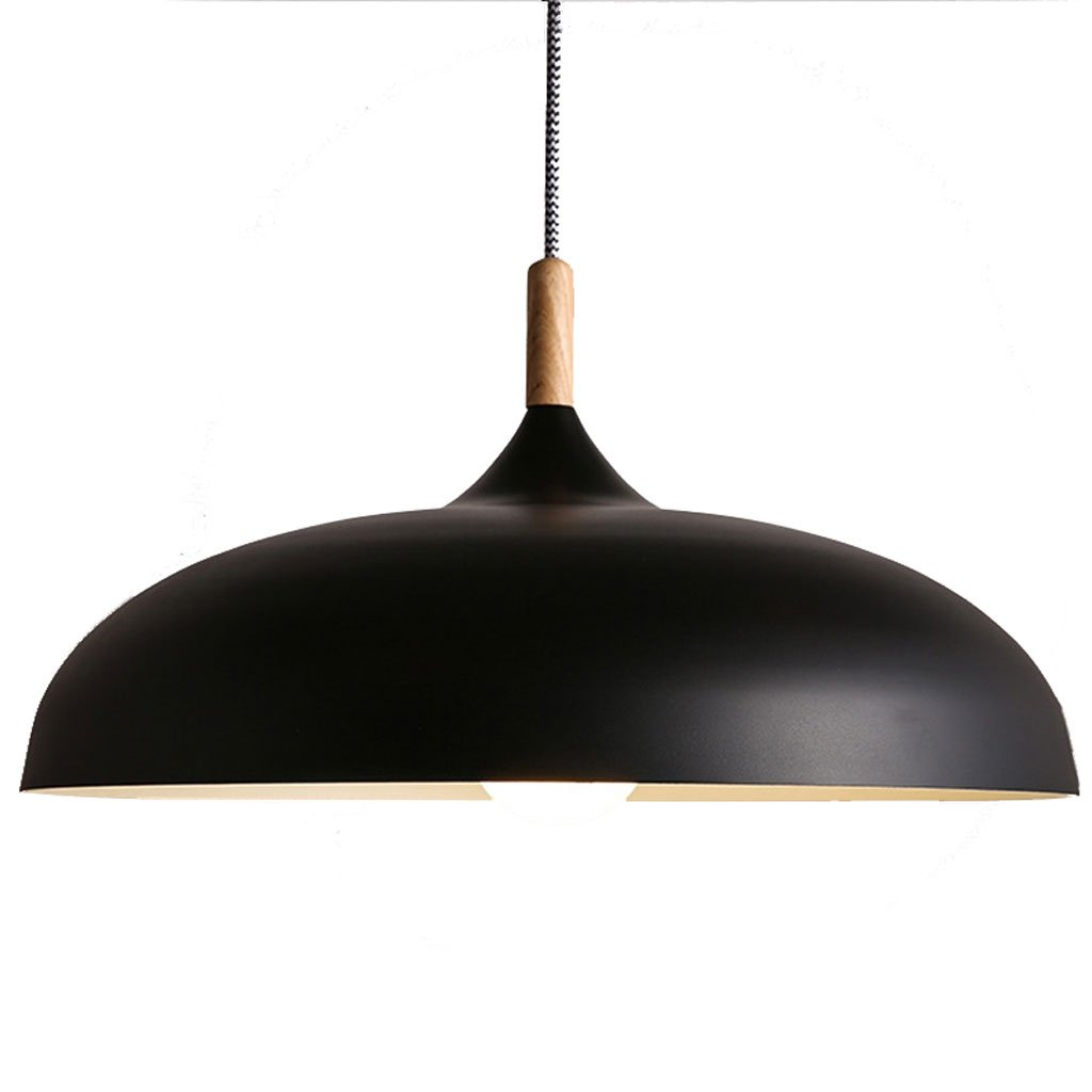 Kronleuchter E27 Droplight Massivholz Nordic Moderne Kronleuchter Restaurant Bar Zimmer Lampe Einfache Topfdeckel Aluminium Kronleuchter Schwarz (Größe   M)