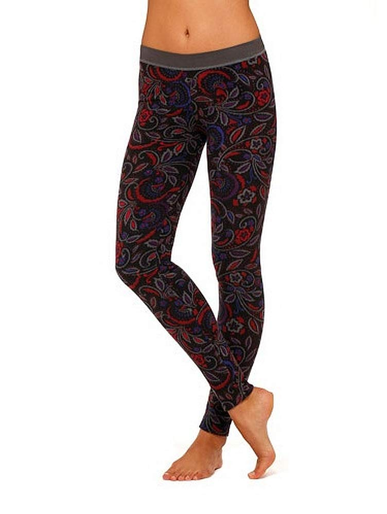 Cuddl Duds ClimateRight Womens Stretch Fleece Warm Underwear Leggings/Pants (Large, Paisley)