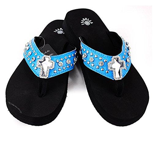Women Western Rhinestone Bling Cross Flip Flops Sandals (L(9-10), TURQUOISE)