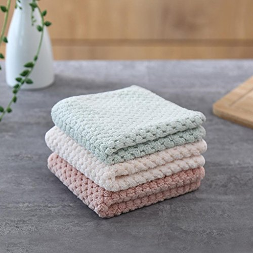 Clearance Sale!DEESEE(TM)Nonstick Oil Coral Velvet Hanging Hand Towels Kitchen Dishclout (Green) by DEESEE(TM)_Home (Image #2)