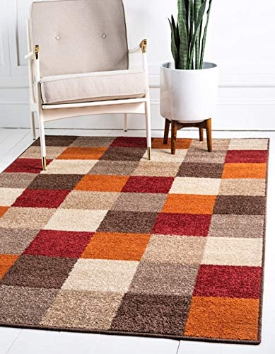 Unique Loom Autumn Collection Modern Checkered Warm Toned Multi Area Rug 5 0 x 8 0