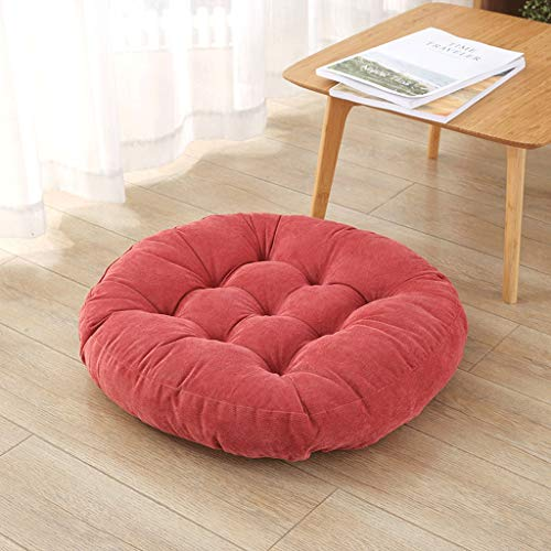 Corduroy Futon Cushion, Increase Thicker Solid Color Bay Window Floor to Sit On Tatami Mat A++ (Color : Watermelon red, Size : 55cmX55cm)