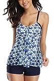 Sociala Womens Crochet Tankini with Panty Two Pieces Swimsuit Beachwear XL Blue