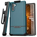 Encased Galaxy Note 10 Belt Clip Holster Case (2019 Rebel Armor) Heavy Duty Rugged Full Body Cover w/Holder for Samsung Note 10 (Blue)