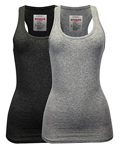 Zenana Women's Plain Solid Color Ribbed Racerback Tank Top Shirt Plus Sizes 2 Pack: Heather Charcoal | Heather Grey XX-Large