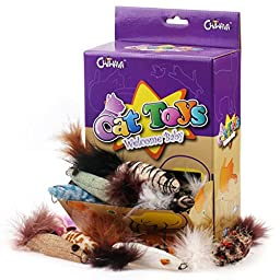 Chiwava 24PCS 7.5\'\' Long Plush Catnip Mice with Feather Assorted Style Kitten Mouse Cat Interactive Toy
