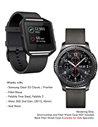 Samsung Gear S3 Frontier/Classic, Fitbit Blaze, Pebble 2 / Time Steel 22mm Leather Watch Band Quick Release, Truffol Strap Genuine Leather with Black Buckle (Black)