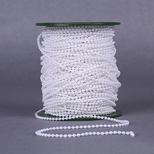 USIX 50yards Craft DIY 3mm Mini Pearl Beads Chain Cotton String for Bouquet Bridal Party Supplies Wedding Party Event Christmas Gift Wrapping Craft Beads Pearl (Cotton Pearl Beads)