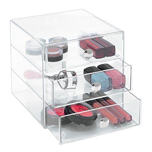 InterDesign 3 Drawer Storage Organizer for Cosmetics, Makeup, Beauty Products - Clear