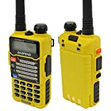 Baofeng Yellow UV-5R V2+ (USA Warranty) Dual-Band 136-174/400-480 MHz FM Ham Two-way Radio, Improved Stronger Case, Enhanced Features