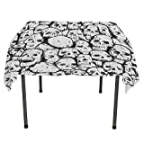 Skull Non Slip Tablecloth Conjoined Head Motifs Fantastic Spooky Fossils Motley Dark Sketchy Artwork Print White Black Table coth Waterproof Spring/Summer/Party/Picnic 54 by 54 -  All of better