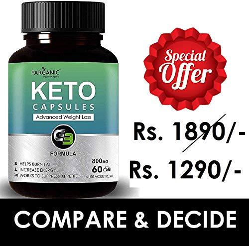 Farganic Keto Capsules for Weight Loss Natural & Advanced Fat Burner Supplement 800 MG, 60 Capsules,...