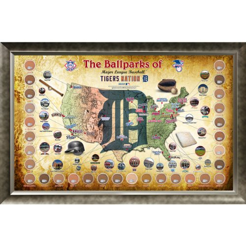 MLB Collage Parks Map by Steiner Sports, Detroit Tigers - 20in x 32in -