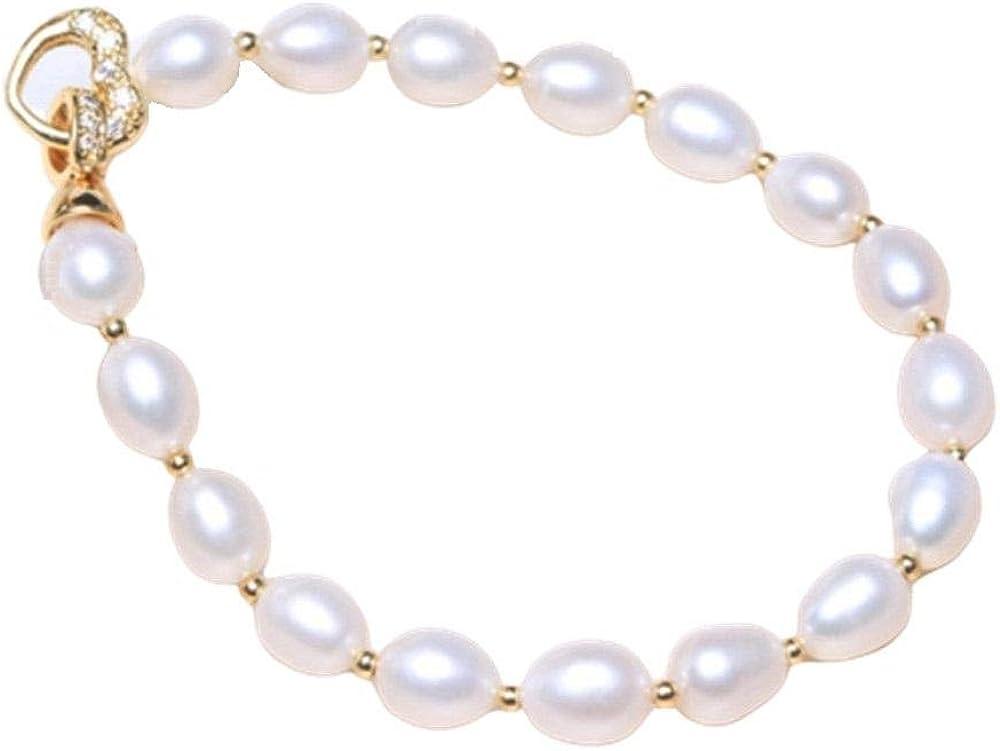 Roapk Pulsera De Perlas para Mujer Hebilla De Corazón Barroco Pulsera De Perlas Ovaladas Irregulares Naturales Cadena De Cuentas De Color Mixto 16/17/18/19/20/21 / 22Cm-18Cm_Blanco