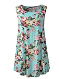 #8: Veranee Women's Sleeveless Swing Tunic Summer Floral Flare Tank Top