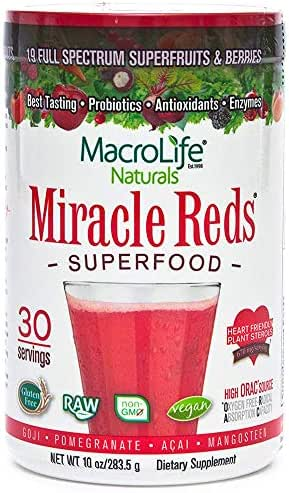 Miracle Reds Raw Organic Superfood  Powerful Gluten Free, Non GMO Fruit & Veggie Drink Powder  Contains List of Vital Reds including Digestive Enzymes, Tumeric, Probiotic, and Goji Berries