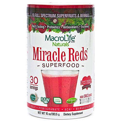 Miracle Reds Raw Organic Superfood| Powerful Gluten Free, Non GMO Fruit & Veggie Drink Powder| Contains List of Vital Reds Including Digestive Enzymes, Tumeric, Probiotic, and Goji -