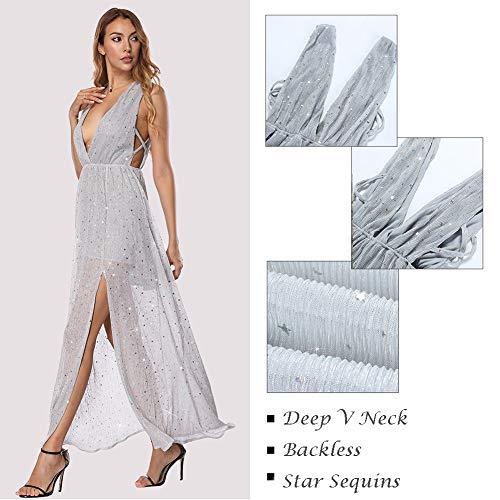 Deep Cocktail Maxi Women's V Sexy Backless Split Neck Party Long Silver Dresses 5wSOpYx0
