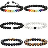 Adramata 6Pcs Chakra Bracelet for Men Women Lava Rock Stone Bead Bracelet Diffuser Yoga Bracelet Set Elastic Rope