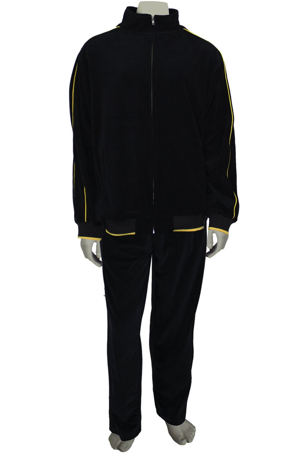 Mens Black Velour Tracksuit with Yellow Piping (Large)
