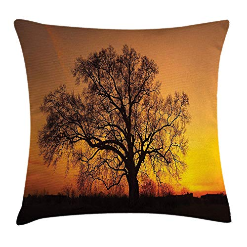 Tree Throw Pillow Cushion Cover, Oak in The Sunset Horizon Golden Yellow Sun Rays Countryside Rural Nature Picture, Decorative Square Accent Pillow Case, 18 X 18 inches, Orange ()