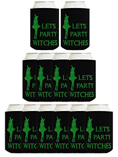 Funny Halloween Beer Coolie Let's Party Witches Sexy Witch Costume Accessory 12 Pack Can Coolie Drink Coolers Coolies