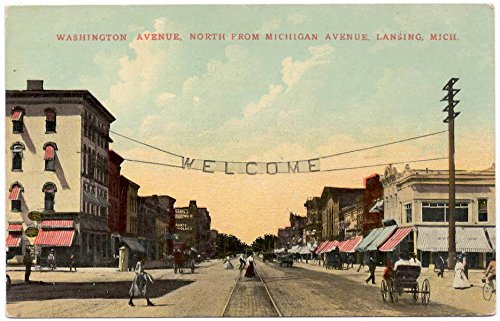Postcard Washington Avenue North from Michigan Ave in Lansing, - Map Michigan Ave
