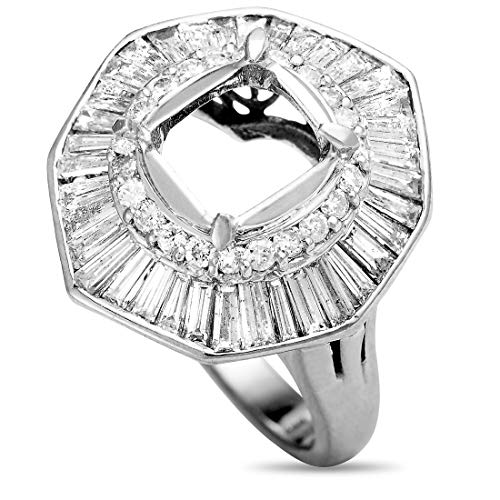 Luxury Bazaar Platinum and Round and Tapered Baguette Diamond Mounting -