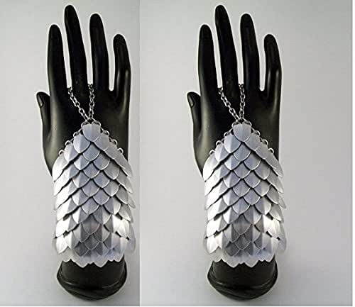 Armor, costume, cosplay, chainmaille, slave bracelet, handflower, hand armor, scalemail, dragon scale