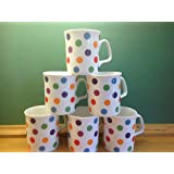 Set of 6 Spots design china mugs by Crown Regal