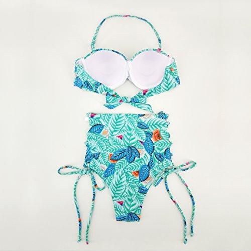 Uskincare Traje de Baño Mujer Alto la Cintura Bañador con Tirantes Tops Playa Mar 3-Hojas Verdes A