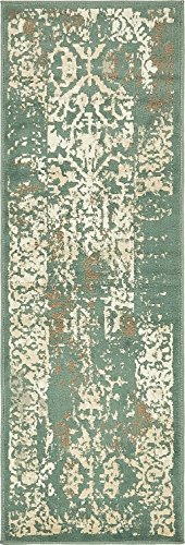 Vintage Traditional Overdyed Green 2' x 6'-Feet Runner St. J