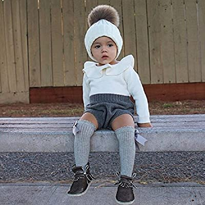 c8aef8535453f Happyハッピー耳 ベビー服 女の子 ロンパース 長袖 新生児 ニット セーター フリル襟 スカラップ おしゃれ カバーオール 秋