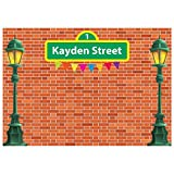 Allenjoy 7x5ft Customizable Brick Wall Street Backdrop High Cartoon Photography Backdrops First 1st Girl boy Birthday Party Background Party Decors Decorations Baby Shower Photo Shoot Booth