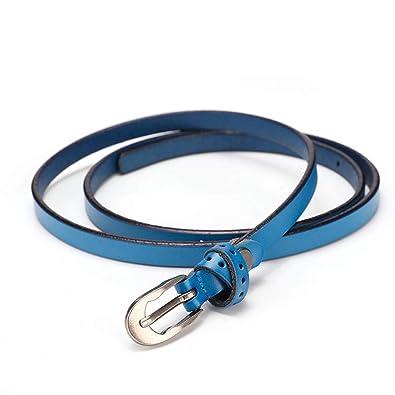 Y-WEIFENG Cinturón de Mujer Vestido de Cuero Cintura Fina Ocio ...