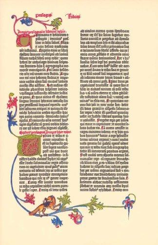 (Gutenberg Bible Tobit Illuminated Facsimile Leaf 1961)