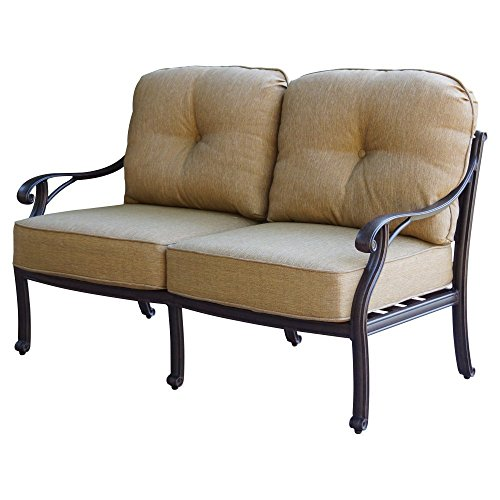 - K&B PATIO LD1031-22 Nassau Loveseat with Cushion, Antique Bronze