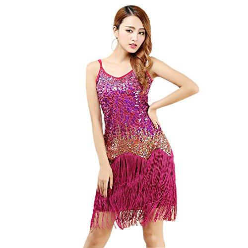 Halter Latino Maniche KINDOYO Abiti Paillettes Moda Rose da Senza Ballo da Latini Salsa Nappa Della Rosso Abito Donne Ballo Elegante rqgqXP