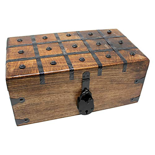 Nautical Cove Treasure Chest Wooden Box with Antique Iron Lock and Skeleton Key - Storage and Decor (Large 14.25 x 8 x 6.5) (Skeleton Chest)