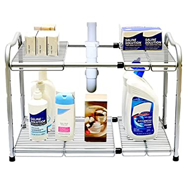 DecoBros Under Sink 2 Tier Expandable Shelf Organizer, Silver