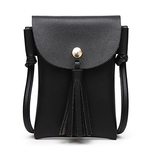 Black Satchel Party Pu Bags Shopping Women's Shoulder AgooLar Fringe TqRFFx