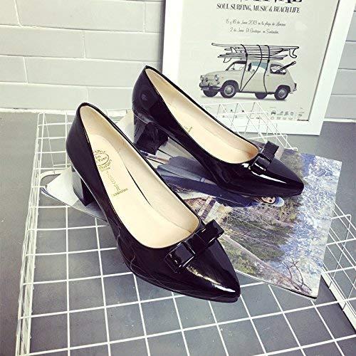 Willsego Pumps Damen Schuhe Lackleder Flachmundschuhe Weibliche Spitzen High Heels Groben mit Groben Heels Arbeitsschuhe, 39, Rosa 333aef