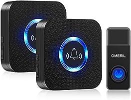 Wireless Doorbell, OMERIL 1000ft Range Door Bells, IP55 Waterproof Doorbell 58 Chimes, 5-Level Volume & Blue Light, Mini...